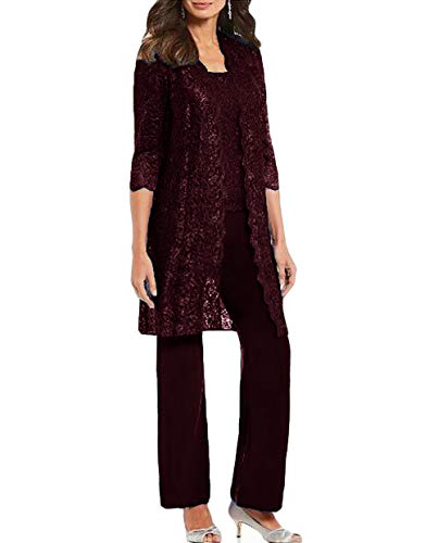 WZW Chic Mother of The Bride Pant Suits 3 Pieces Long Sleeve Chiffon Groom Mother Dress with Jacket Wedding Guest Gown Burgundy