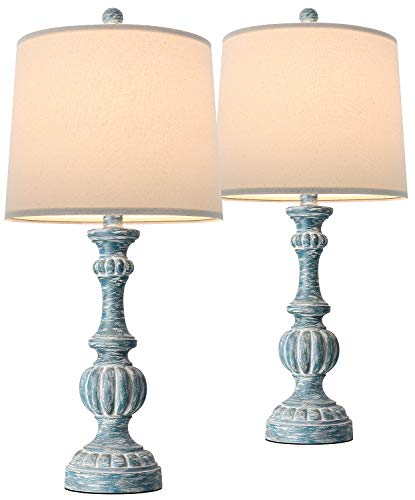 Oneach Rustic Table Lamps for Living Room 24.5'' Bedside Traditional Nightstand Side Lamp Farmhouse for Bedroom Office…