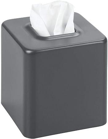 mDesign Caja cuadrada para pañuelos descartables – Caja para pañuelos de papel tisu – Contenedor para pañuelos desechables – Gris mate: Amazon.es: Hogar
