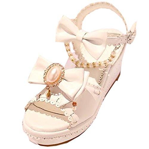 Partiss Damen Sweet Lolita High-top Schuhen Hochzeit Pumps Cosplay Lace Bowknots Dienstmaedchen Platform Pumps Sommer Sandalen Lolita Shoes mit Perlenschnur Weiß