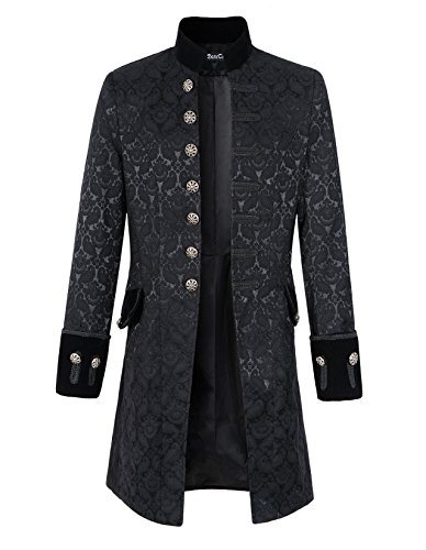 Mens Velvet Goth Steampunk Victorian Frock Coat (M, Brocade) (Steampunk Clothing Men)
