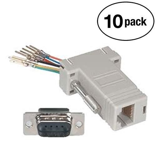 InstallerParts (10 Pack DB9-Male to RJ11 / RJ12 (6 Wire) Modular Adapter Ivory ()