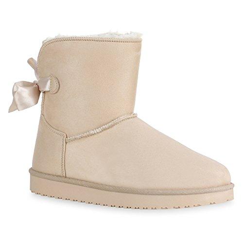 Stiefelparadies Warm Gefütterte Stiefel Damen Stiefeletten Schleifen Satinoptik Schuhe Bequeme Schlupfstiefel Kuschelig Warme Boots Flandell Creme Berkley