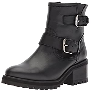 Steve Madden Women's Gain Motorcycle Boot, Black Leather, 8 M US