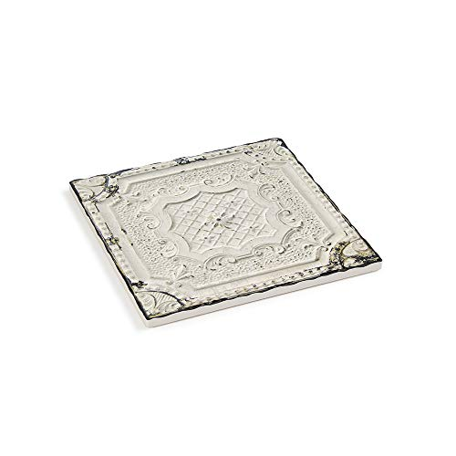 TIMELESS BY DESIGN Ceramic Trivet for Culinary Decor - CEILING TILE TRIVET, Digital Print Trivet with Cork Backing, Scratch and Heat Resistant, 7 1/2 X 7 1/2 X 1/4 Inches ()