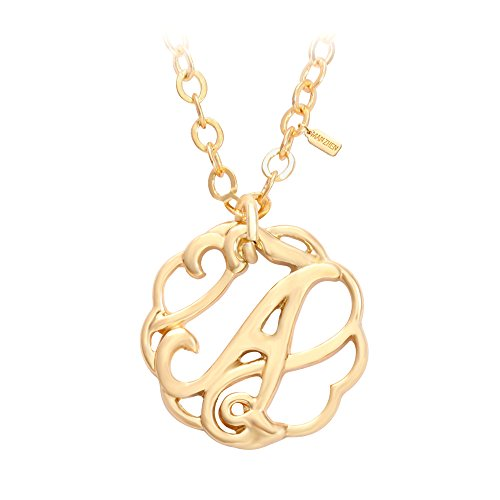 MANZHEN Golden Letter Necklace Monogram Necklace with Stainless Steel Chain for Girls (A)