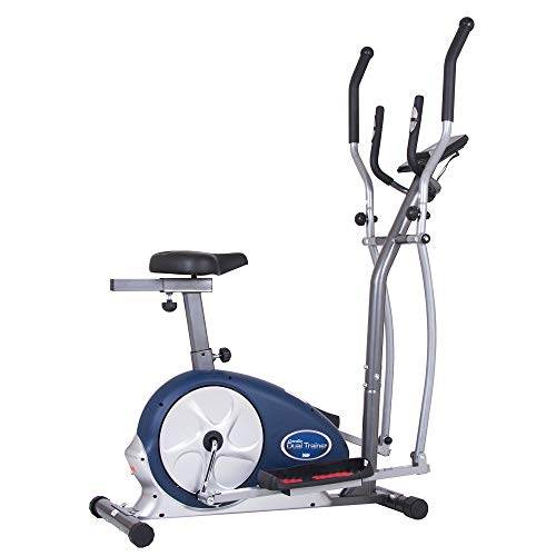 Body Champ 2 in 1 Cardio Dual Trainer/Elliptical Workout and Upright Exercise Bike with Heart Rate, Computer Resistance BRM3671 ()