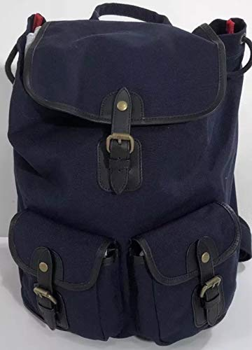 BROOKS BROTHERS RED Fleece Men's Navy W/RED Cotton Canvas Backpack Rucksack W/Laptop ()