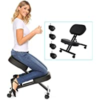 Homevol Ergonomic Kneeling Chair - Faux Leather - Thick Comfortable Moulded Foam Cushions - Smooth Gliding Casters & Brake Casters,Adjustable Stool For Home & Office