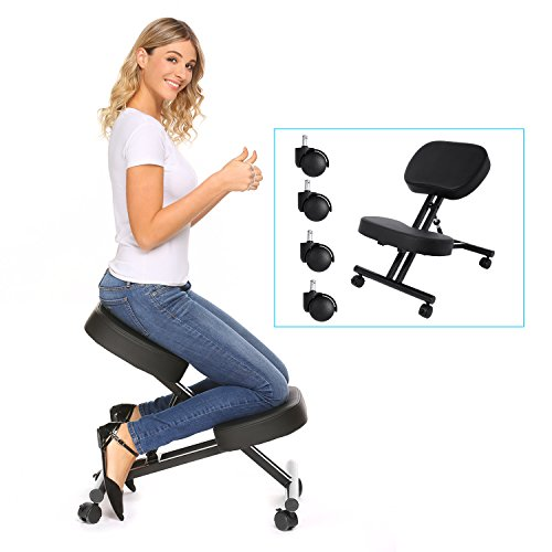 Modrine Ergonomic Kneeling Chair, Perfect Adjustable Posture Stool for Home and Office with Thick Comfortable Moulded Foam Cushions, Black (Black)