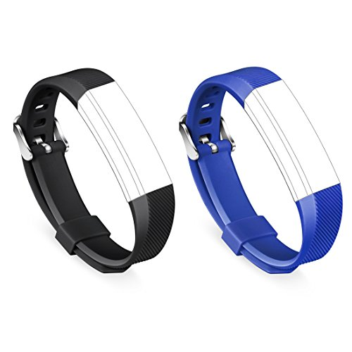 GinCoband 2PCS Replacement Bands for Fitbit Alta Fitness Tracker Fitbit Alta Bands with Metal Clasps No Tracker (Buckle Design-Black&Blue, Large)