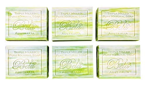 Bela Pure Natural Soaps Triple Milled Moisturizing Soap Bars, Sulfate Free - Olive Oil with Cocoa Butter - Made in Australia - Perfect Mothers Day, Anniversary, or Birthday Gift - 6 pack -3.5 oz each