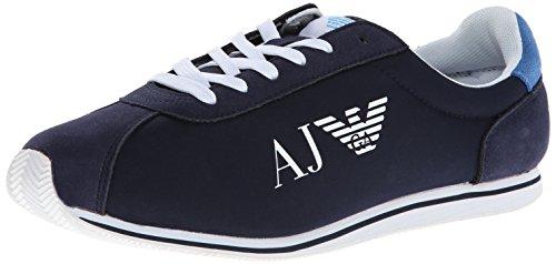 Armani Jeans Men's Nylon and Leather Fashion Sneaker, Navy, 9.5 UK/10 M US