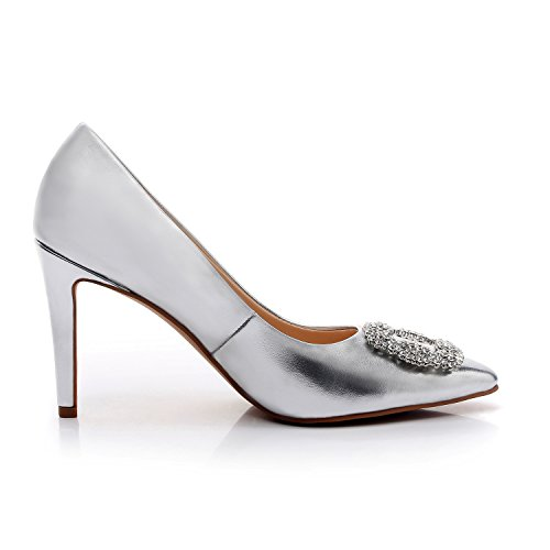 Appoint Pump Heel Stiletto Party High DUNION Dress Toe Evening Wedding Silver Shoes Women's Pointed 18q5wgx