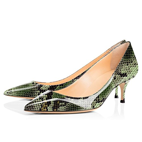 2 Green Bombas pie de estilete del Python tacones Court 5cm Shoes 6 mujer Classic puntiagudo Dedo ELASHE w6RBqap