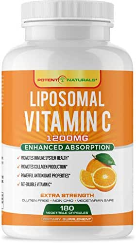 Liposomal Vitamin C 1200mg - 180 Capsules 90 Servings - Highest Absorption, Fat Soluble VIT C, Powerful Antioxidant & Immune Support - Collagen Booster, Anti Aging Supplement - Lypo Spheric, Non GMO