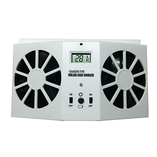 Solar Car Exhaust Heat Exhaust Fan Double Air Outlet Replacement Automobile Fan for Summer (White)