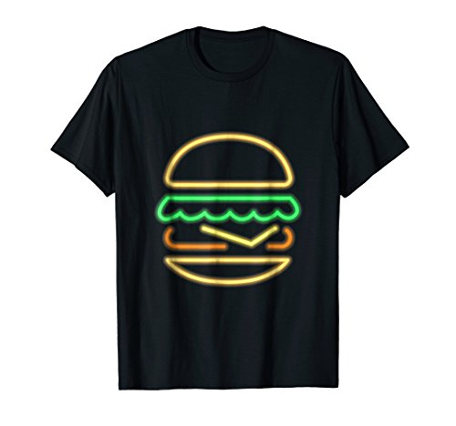 Funny Burger Neon Tshirt with Classic 80s Retro Neon Sign by Burger BBQ Neon T-shirt - Funny Shirts