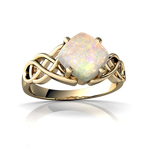14kt Yellow Gold Opal 6mm Cushion Celtic Knot Ring - Size ()