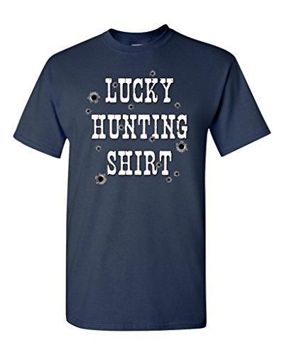 Lucky Hunting Shirt Funny T-shirt Humor Shirts X-Large Navy 17635