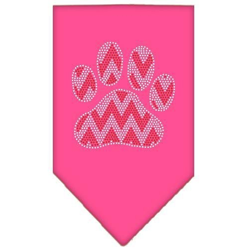 Candy Cane Chevron Paw Rhinestone Bandana Bright Pink Small