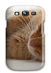 Flexible Tpu Back Case Cover For Galaxy S3 - Cat Peeking At Curtain