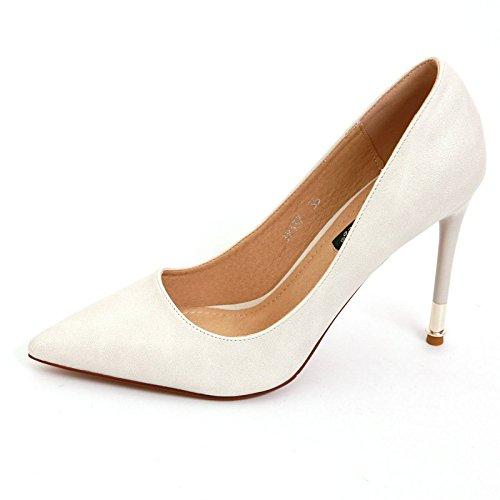 YMFIE Multa Europea con el Color sólido Acentuado del Charol del Color de la charca de la Boca Baja Temperamento de la Moda Zapatos de tacón Alto Solos Zapatos de Trabajo creamy-white