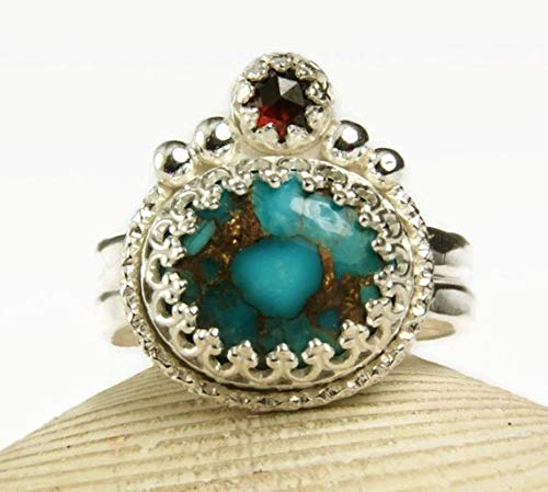 (Oval Copper Turquoise and Garnet Sterling Silver Hammered Band Ring)