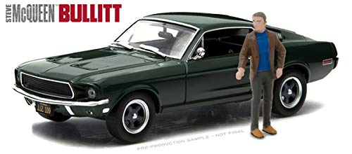 Greenlight 1:43 Hollywood Bullitt (1968) Ford Mustang GT Fastback with Steve McQueen Figure Die Cast Vehicle