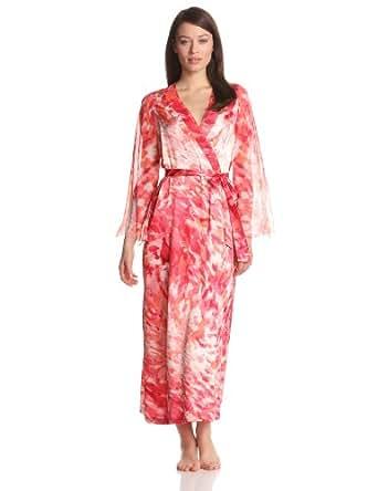 Oscar de la Renta Women's Sunset Mirage Robe, Red Print, Small