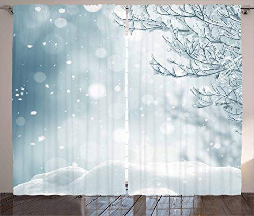 Red Vow Winter Curtains, Christmas Themed Image Snow and Frosted Tree Snowflakes Winter Season Illustration, Curtain for Bedroom Dining Living Room 2 Panel Set, 80