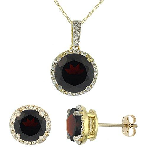 Jewellery World Bague en or jaune 9carats Diamant rond de boucles d'oreilles et pendentif grenat naturel Accents