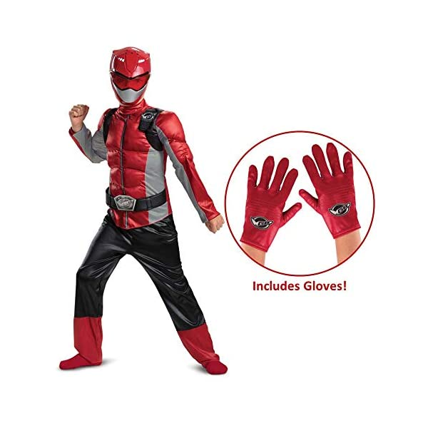 Power Rangers Beast Morphers Red Ranger Muscle Costume With Gloves
