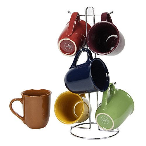 Coffee Cup Set by GIBSON Coffee Mug Set Stoneware Coffee Cups with Metal Rack Wire Holder Assorted Colors 7 pcs set, Cafe Amaretto