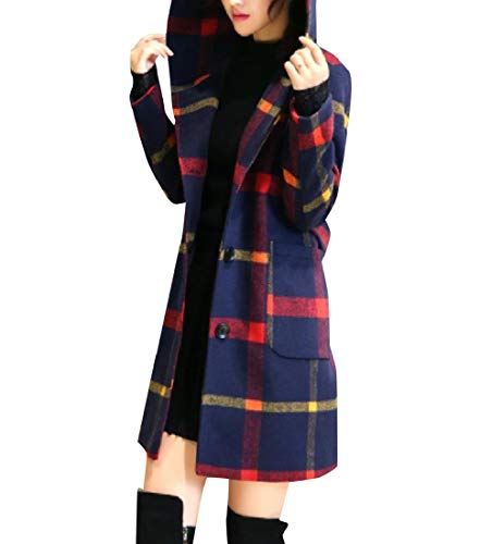 (SportsX Womens Mid-Long Open Front Hit Color Hoode Wool Plaid Duffle Coat AS1 L)