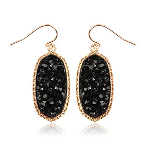 RIAH FASHION Lightweight Acrylic Stone Druzy Crystal Delicate Earrings - Sparkly Geometric Decagon Oval Drop, Polygon Hook Dangles, Hexagon Studs (Oval Hexagon Medium - Black)