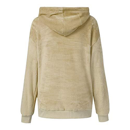 Sweatshirt Cotton Wool Hooded Zipper Pockets Warm Winter Coat Morwind Khaki Outwear Women Coat qEawHEp
