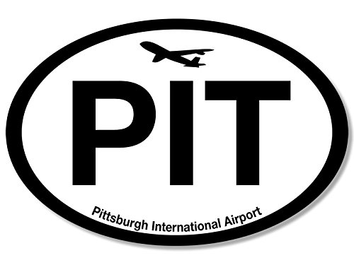Oval PIT Pittsburgh Airport Code Sticker (jet fly air hub pilot - Pa Airport Pittsburgh