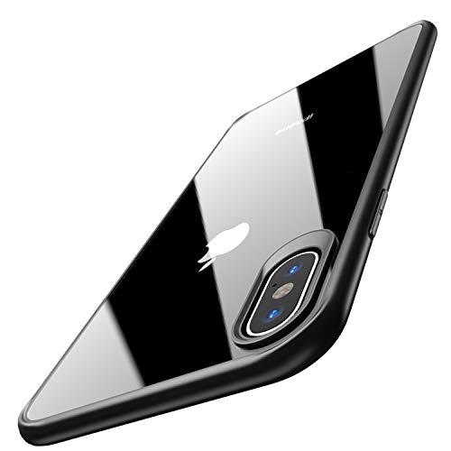 Peel Accessorize - TOZO for iPhone Xs Case 5.8 Inch (2018) Hybrid Soft Grip Matte Finish Clear Back Panel Ultra-Thin [Slim Thin Fit] Cover for iPhone Xs with [Black Edge]