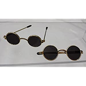 "2-3/8"" Round Doll/bear Folding Gold Frame Sunglass, 4 Pairs/pkg"