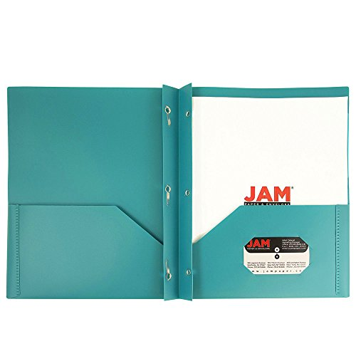 JAM Paper Plastic Eco Two Pocket Presentation Folder with Clasps - Teal - 6/pack