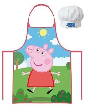 Delantales Para Niños Cocina   Peppa Pig Conjunto De Gorro De Cocinero De Cocina Y Delantal