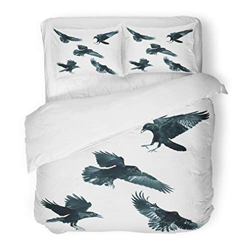 Emvency Bedding Duvet Cover Set Full/Queen (1 Duvet Cover + 2 Pillowcase) Air Bird Black Raven Corvus Corax White Mix Five Halloween Angry Animal Beak Crow Hotel Quality Wrinkle and -