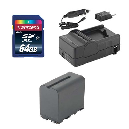 Sony HXR-NX3E Camcorder Accessory Kit includes: SDNPF970 Battery, SDM-105 Charger, KSD64GB Memory Card by Synergy Digital