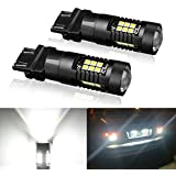 T25 3157 LED Signal Light Bulb, P27/7W 3056 3156 3057 Super Bright High Power 21 3030SMD Auto Car Light Use for Turn, Reverse, Brake, Parking, Tail, DRL, Fog Lights and More - 1 Year Warranty