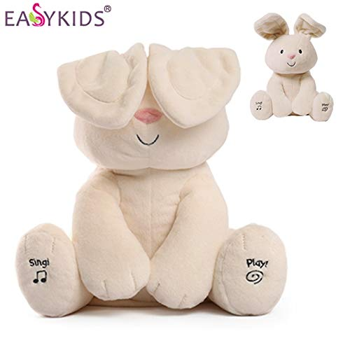 30cm Cute Peek A Boo Rabbit Electric Plush Jeriwellmusical,Hide and Seek,Talking with Singing Bunny Doll Play Music Kids