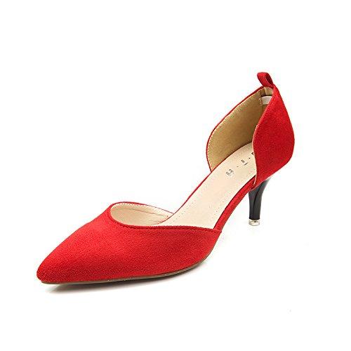 ZHUDJ Zapatos De Mujer Señaló Las Mujeres Huecas Zapatos Zapatos con Tacones OL Superficial Delgada Boca,Gules,35 Thirty-five|gules
