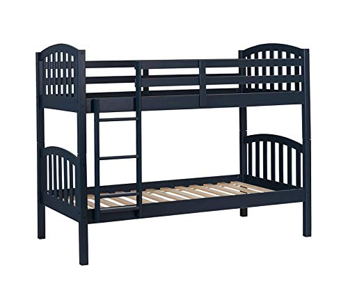 Summer Breeze Solid Wood Bunk Beds Navy Blue Decor Comfy Living Furniture Deluxe Premium Collection (Collection Bunk Loft Lower)