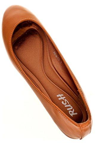Elegant Rund Tå Faux Skinn Innerpute Komfortabel Såle Flat Kamel-afra-11
