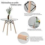 FurnitureR Mesa de Comedor Redonda Cristal para 4 Personas Café Moderna Estilo Réplica Eames Patas de Madera